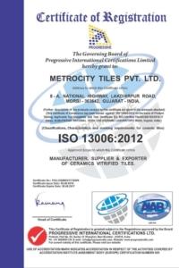 Certifikát Metro ISO13006